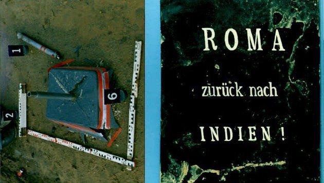 """Der Sprengstoff ist in einem Schild mit der Aufschrift """"Roma zurück nach Indien!"""" versteckt. (Bild: APA)"""