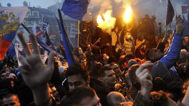 Belgrad: Nach dem Karadzic-Urteil sind serbische Nationalisten zutiefst empört. (Bild: APA/AFP/ALEXA STANKOVIC)