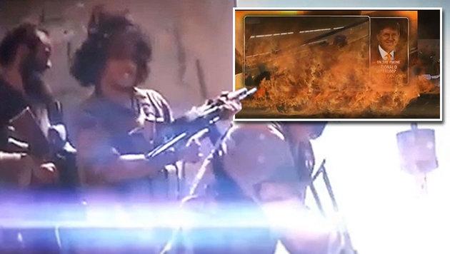 Szenen aus dem Bekennervideo mit Trump und IS-Kämpfern (Bild: Twitter, LiveLeak)
