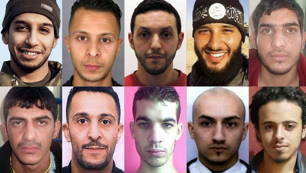 Diese zehn Islamisten waren an den Anschl�gen von Paris beteiligt. (Bild: AFP or Licensors)