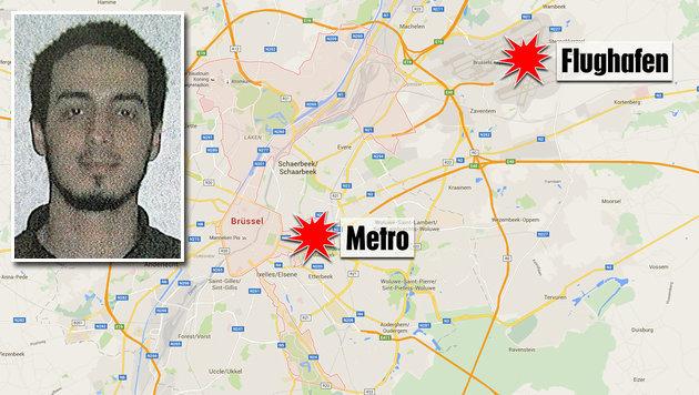 Najim Laachraoui gilt als Bombenbauer der Attentäter. Er starb beim Brüsseler Flughafen-Anschlag. (Bild: maps.google.at, APA/AFP/BELGIAN FEDERAL POLICE/HO)