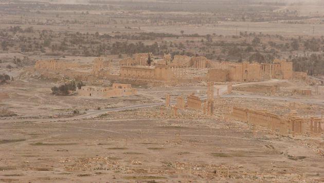 Die antiken St�tten aus der Luft, unmittelbar nach der Befreiung (Bild: APA/AFP/Maher al Mouner)