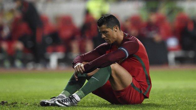 Torflaute macht Portugal-Star Ronaldo zornig (Bild: APA/AFP/FRANCISCO LEONG)