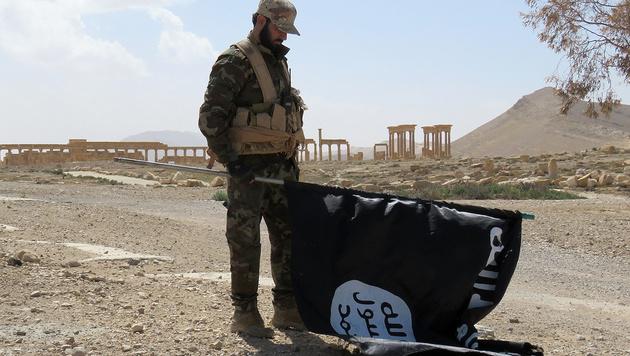 Ein Regierungssoldat mit einer erbeuteten IS-Flagge vor den Ruinen der historischen Altstadt (Bild: APA/AFP/STR)