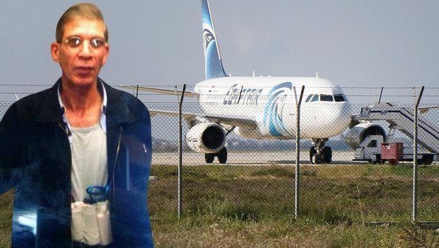 Ein Twitter-Bild soll den Entf�hrer der EgyptAir-Maschine zeigen. (Bild: AFP, Twitter.com/Airlivenet)