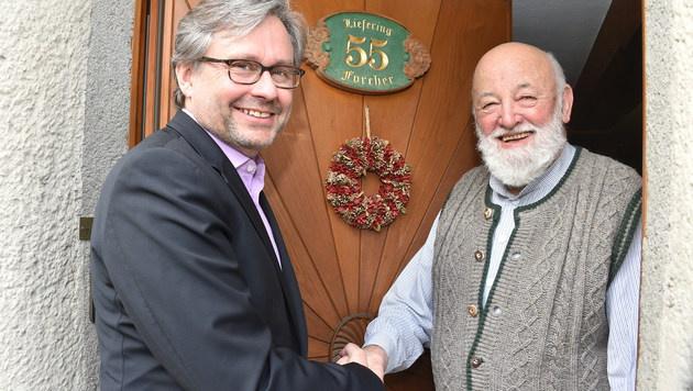 Der Chef beim Sepp: Alexander Wrabetz bei Sepp Forcher (Bild: Wolfgang Weber)
