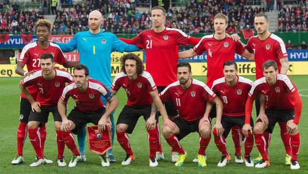 Die Startelf gegen Albanien (Bild: APA/AFP/JOE KLAMAR)