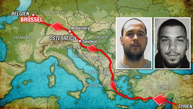 Brüssel-Bomber reisten über die Balkanroute ein (Bild: APA/AFP/Interpol, thinkstockphotos.de)