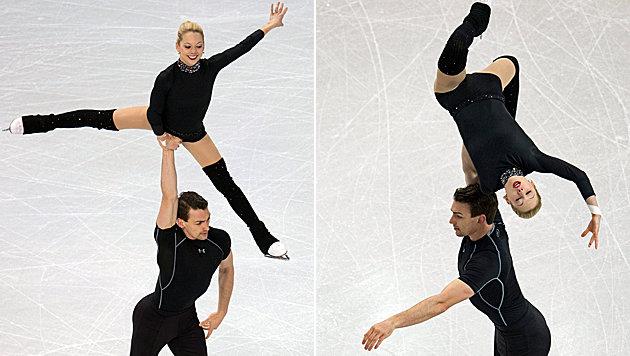 Begnadete Eiskünstler-Körper: Das US-Paar Scimeca/Knierim beim Training für die WM in Boston. (Bild: EPA)