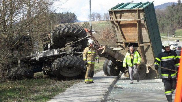 Das tonnenschwere Gespann geriet außer Kontrolle. (Bild: Berufsfeuerwehr Klagenfurt)