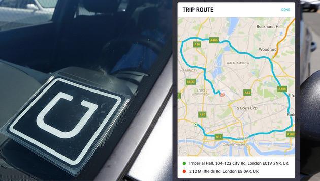 Uber-Fahrer in London machte Riesenumweg (Bild: APA, Twitter/@DanKay, krone.at-Grafik)