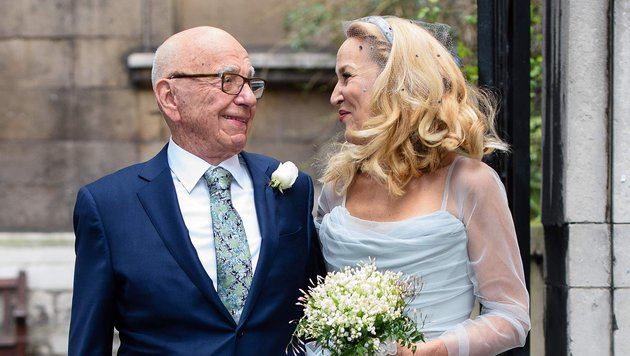 Medienmogul Rupert Murdoch heiratete im März Ex-Model Jerry Hall. (Bild: AFP)