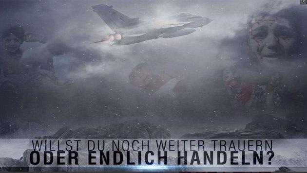 IS-Propaganda: Deutscher Kampfjet am Himmel über verletzten und traurigen Kindern (Bild: Twitter.com/SITE)