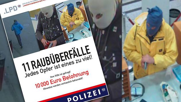 Mit diesem Flyer fahndet die Polizei nach dem Serienräuber. (Bild: LPD Vorarlberg)