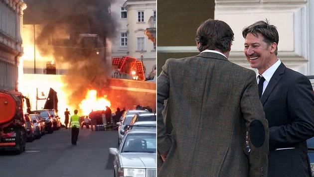 """Die Explosion beim Dreh zu """"Die Hölle"""" in der Wiener City sorgte für Aufsehen. (Bild: Leserreporter, Starpix/Alexander Tuma)"""