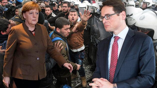 Der Schweizer SVP-Politiker Roger Köppel (re.) findet für Merkels Asylpolitik scharfe Worte. (Bild: ASSOCIATED PRESS, EPA/ENNIO LEANZA, APA/AFP/SAKIS MITROLIDIS)