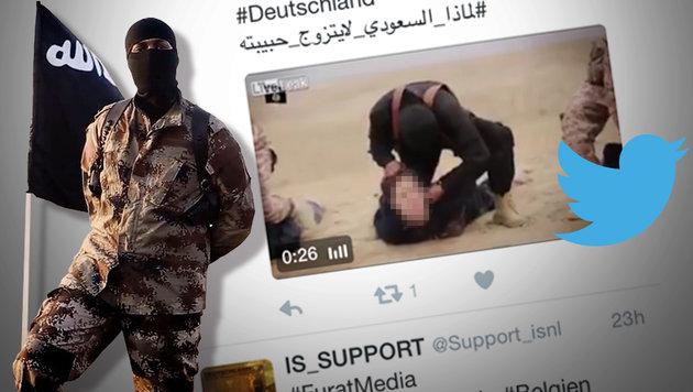 IS wirbt auf Twitter mit Kopfabschneide-Videos (Bild: twitter.com)