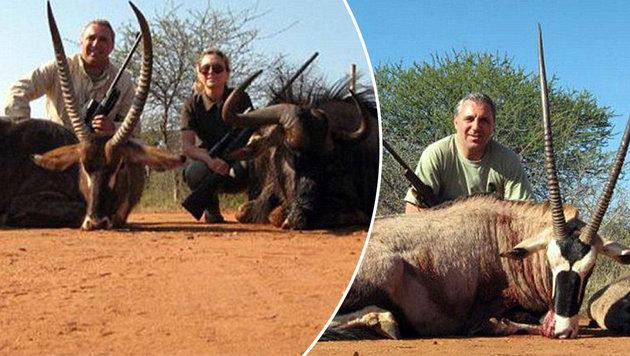 WM-Held Stoichkov posiert neben getöteten Tieren (Bild: Inafrika.org)