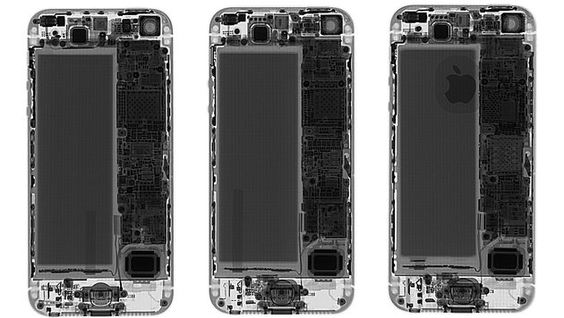 iPhone 5, iPhone 5S und iPhone SE in der Röntgen-Ansicht (Bild: creativeelectron.com)