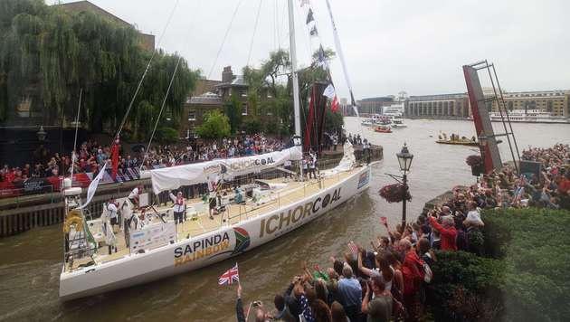 """Die Yacht """"IchorCoal"""" (Bild: AFP)"""