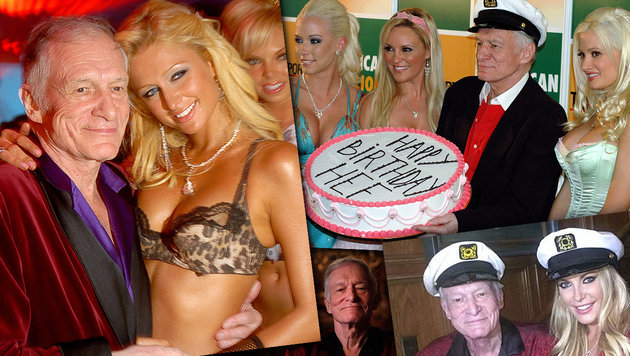 """Hef"" mit Paris Hilton (l.), den ""Girls of the Playboy Mansion"" (o.) & Ehefrau Crystal (r.u.) (Bild: AP, Viennareport)"