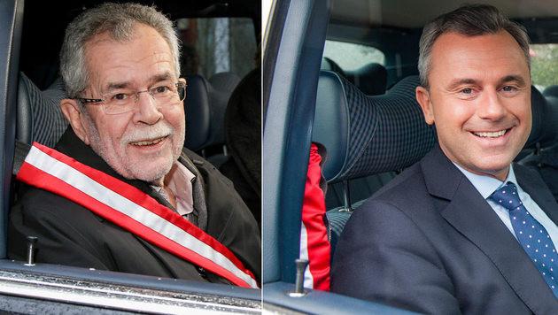 """""""Wahlfahrt"""" diesmal mit Van der Bellen und Hofer (Bild: ORF, krone.at-Grafik)"""