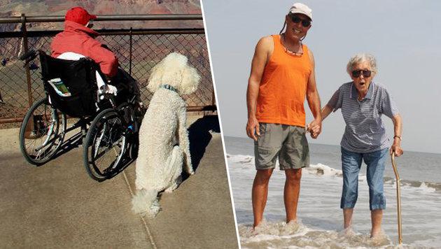 """Norma mit ihrem Hund """"Ringo"""" am Grand Canyon (links) und ihrem Sohn (rechts) (Bild: Ramie B. Liddle)"""