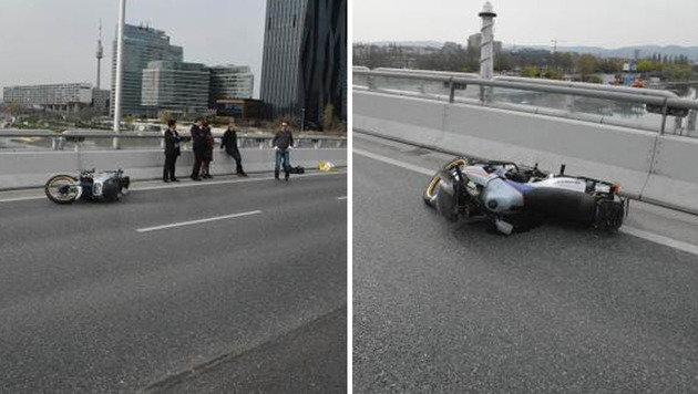 Betrunkener Biker rast über Reichsbrücke - Unfall (Bild: LPD Wien)