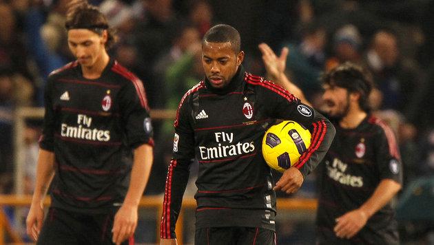 Ibrahimovic (links), Robinho und Gattuso (rechts) (Bild: FABIO MUZZI / AFP / picturedesk.com)