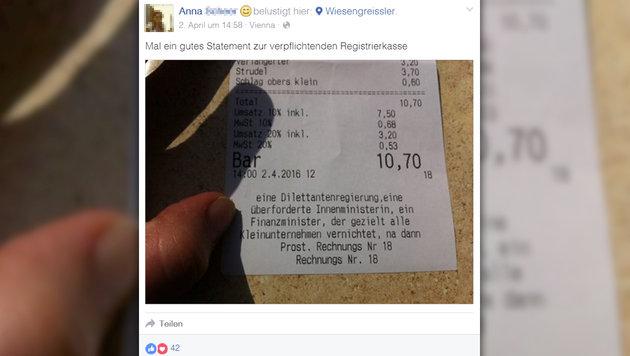"""""""Botschaft"""" auf Rechnung: Wirt macht Ärger Luft (Bild: facebook.com)"""
