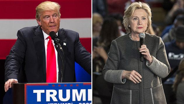 Trump und Clinton in Umfrage fast gleichauf (Bild: APA/AFP/GETTY IMAGES/Hauck, APA/AFP/GETTY IMAGES/Renneisen)