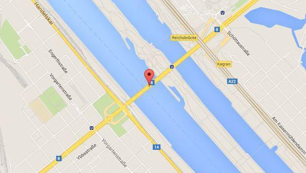Die Reichsbrücke führt über Neue und Alte Donau. (Bild: Screenshot Google Maps)