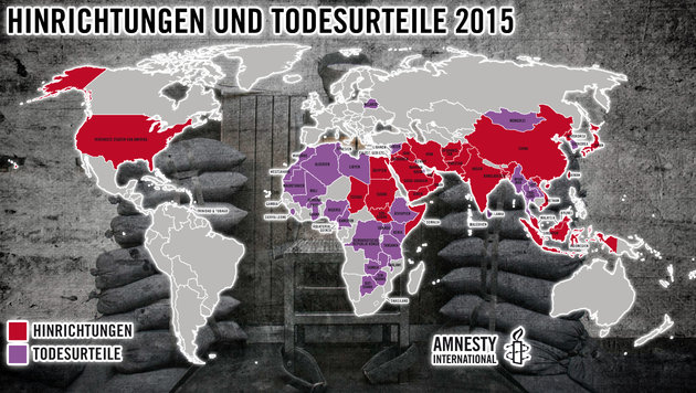 Rot: Hinrichtungen; Violett: Todesstrafen (Bild: AP, Amnesty International, thinkstockphotos.de)