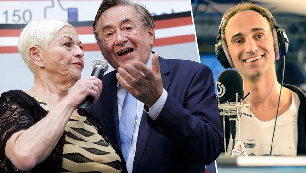 Jazz Gitti mit Richard Lugner beim Wahlkampfauftakt in der Lugner City (l.), Gernot Kulis (r.) (Bild: APA/GEORG HOCHMUTH, ORF)