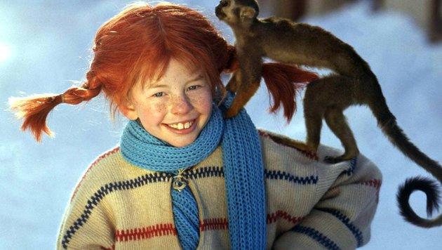 Pippi Langstrumpf mit ihrem Äffchen, Herr Nilsson (Bild: EPA)