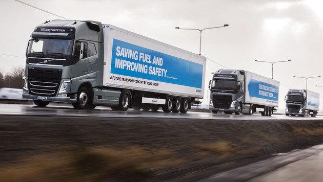 """Vernetztes Fahren: Hersteller testen """"Platooning"""" (Bild: Volvo/Robin Aron)"""