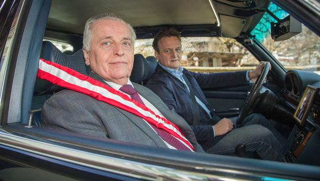 """""""Wahlfahrt""""-Abschluss mit Hundstorfer und Khol (Bild: ORF)"""