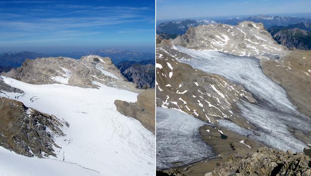 Der Brandner Gletscher, aufgenommen am 19. September 2003 (li.) und am 31. Juli 2015 (re.) (Bild: APA/…AV/KAUFMANN/GROSS)