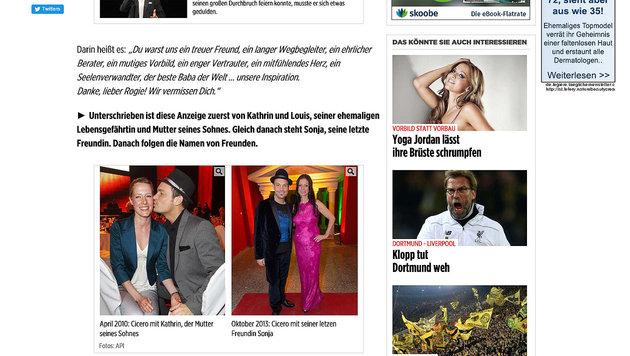 Und auch hier wurde Sonja Klima mit Ciceros Freundin verwechselt. (Bild: Screenshot bild.de)