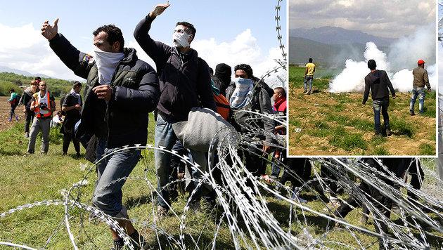 Grenzsturm-Aufruf sorgt für neues Chaos in Idomeni (Bild: EPA, AP)