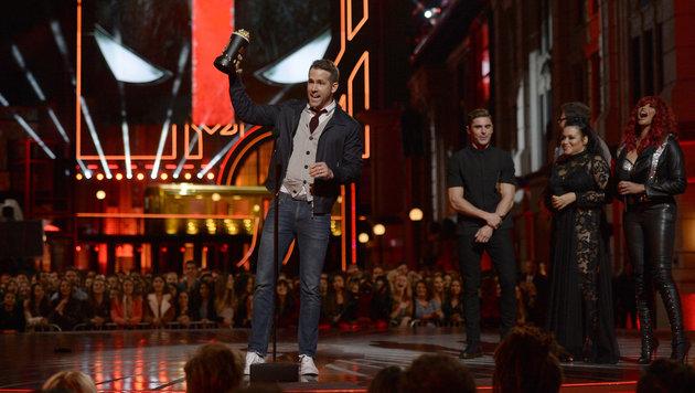 """Ryan Reynolds (""""Deadpool"""") wurde für die """"beste Comedy-Performance"""" und den """"besten Kampf"""" geehrt. (Bild: Kevork Djansezian/Invision/AP)"""