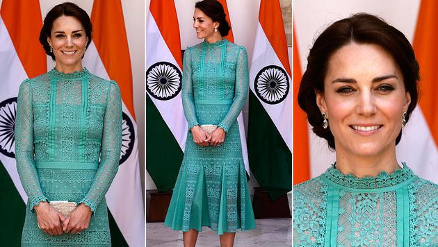 """Kates mintgrünes Kleid von Alice Temperly wurde """"blickdicht"""" gemacht. (Bild: ASSOCIATED PRESS)"""
