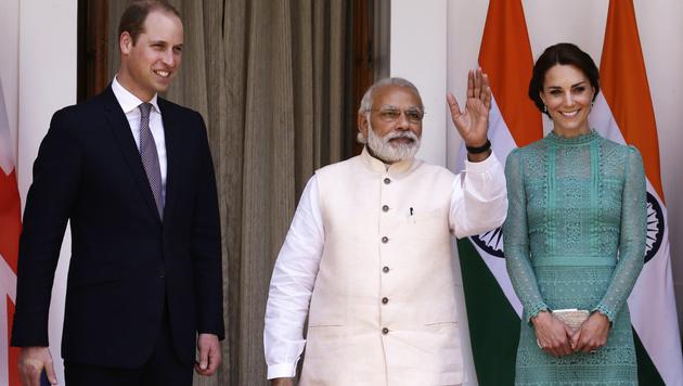 Kate und William beim Treffen mit dem indischen Premierminister. (Bild: AP)
