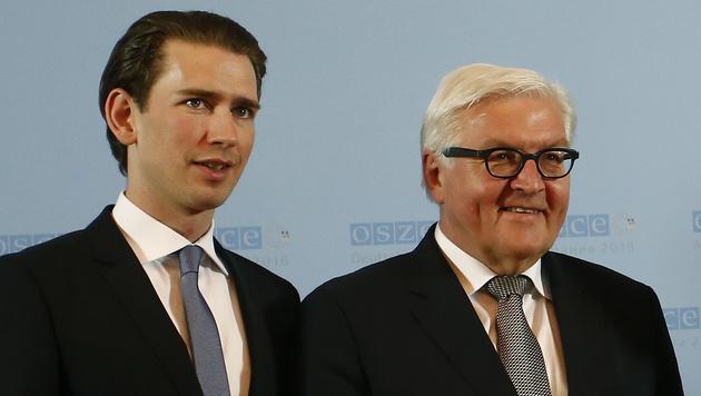 Außenminister Kurz mit seinem deutschen Amtskollegen Frank-Walter Steinmeier (Bild: APA/AUSSENMINISTERIUM/DRAGAN TATIC)
