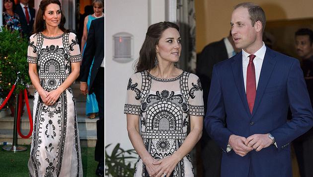 Kate entzückte im 4000-Euro-Kleid in Indien. (Bild: Viennarport)