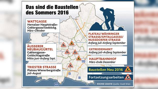 Auf Hauptrouten im Westen Wiens wird's wieder eng (Bild: Krone Grafik)