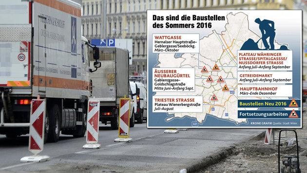 """Auf Hauptrouten im Westen Wiens wird""""s wieder eng (Bild: APA/HELMUT FOHRINGER, Krone Grafik)"""