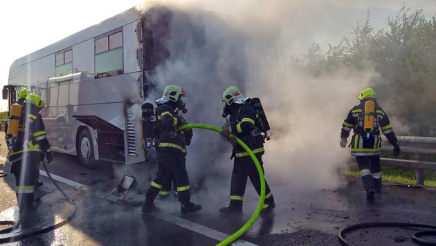 Das Heck des Röntgenbusses stand in Flammen. (Bild: Feuerwehr St. Pö…lten)