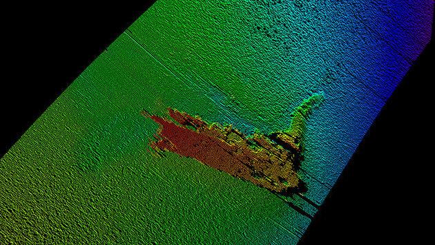 """Sonaraufnahmen zeigen """"Nessie"""" am Grund des Loch Ness. (Bild: Kongsberg Maritime)"""