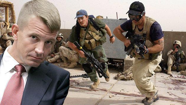 Im Irak-Einsatz: Die Blackwater-Truppe von Erik Prince (links) (Bild: AP, EPA/StefanZaklin)